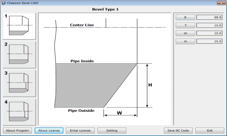Generating optimal NC code for CNC pipe beveling machine with easy well known Screen Shot