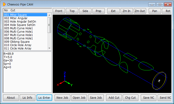 Generate NC code for CNC pipe profile cutting machine using 3D templates and simple parameter inputs. Complex 3D cutting path can be built adding various 3D cut models and checked in path window.