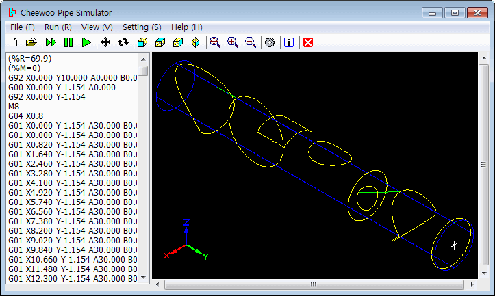 Simulating and displaying CNC cutting path movement for checking