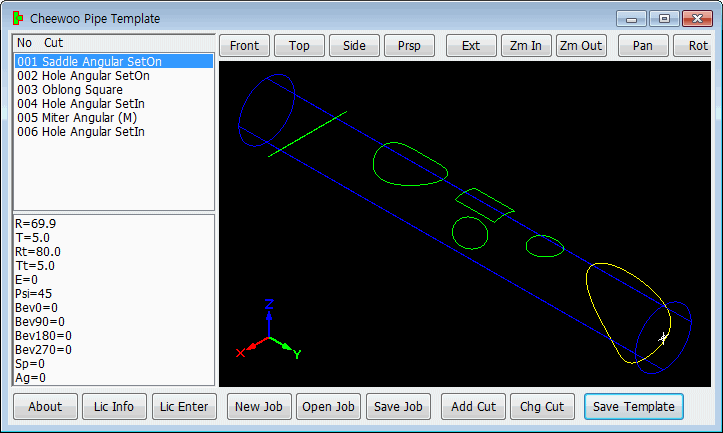 Generate pipe cutting template pattern for manual 3D pipe profile cutting job. Complex template can be generated by using simple parametric input method.