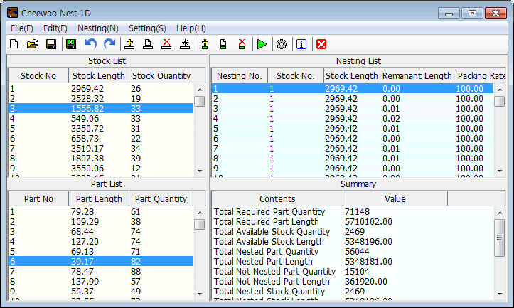 Cheewoo Nest 1D bar nesting software program snapshot image